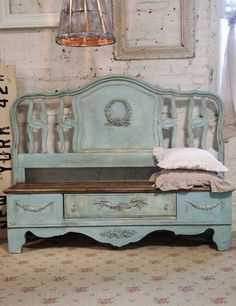Turn a bed headboard into a bench