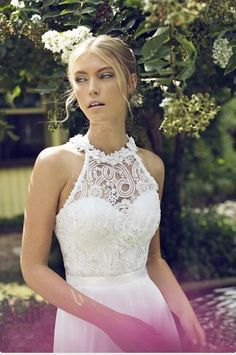 Sleeveless Halter Backless Sweep Train Chiffon Applique Wedding Dress - Uniqistic.com
