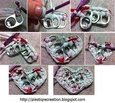 Plastique Recreations: Free Pattern: Pop Tab Plarn Heart applique