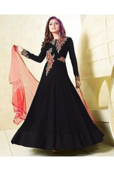 Black Embroidered Georgette Semi Stitched Anarkali Gown Ethnic Gown, Indian Ethnic Wear, Festival Wear, Festival Outfits, Indian Dresses, Indian Outfits, Anarkali Gown, Anarkali Suits, Stylish Gown