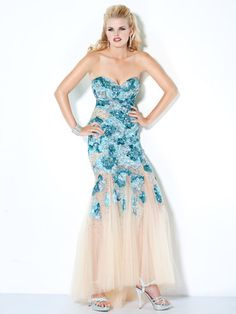 NEW 172208 Strapless Sequin Prom Dress, evening gown Sz 0,2 turquoise/nude