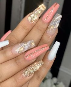 """Glitter & Marble Coffin Nails - """" You are in the right place about beauty trends Here we offer you the most beautiful pictures a - Coffin Nails Glitter, Gold Acrylic Nails, Square Acrylic Nails, Coffin Nails Long, Summer Acrylic Nails, Gold Nails, Glitter Ombre Nails, Pointy Nails, Matte Nails"""