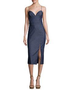 B3EYY Cushnie Et Ochs Sleeveless Chambray Front-Slit Midi Dress, Denim