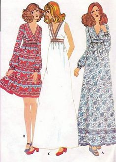 1970s HIGH WAISTED  DRESS PATTERN SURPLICE V NECKLINE, 2 LENGTHS McCALLS PATTERNS 3246