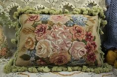 "17"" Beautiful Vintage Chic Charm French Style Handmade Needlepoint Pillow #yi41 #Handmade"