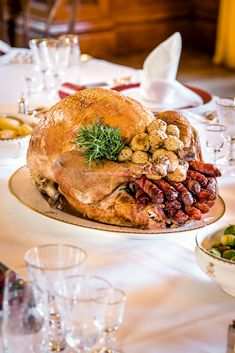 The ultimate Christmas centrepiece to feed a large family. Turkey Legs, Roasting Tins, Roasted Turkey, Skewers, Christmas Recipes, Tray Bakes, Salmon Burgers, Foodies, Magazine