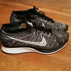 Nike flyknit racers Black and white woven pattern Nike Shoes Athletic Shoes