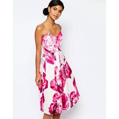 ASOS Bright Pink Floral Bandeau Midi Prom Dress (£33) ❤ liked on Polyvore featuring dresses, multi, floral cocktail dresses, midi cocktail dress, floral midi dress, fit and flare midi dress and floral fit and flare dress