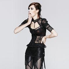T-395 Summer Gothic Semitransparent Korean Fashion Brand Lace Short T-shirt