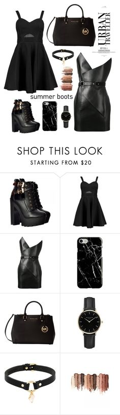 """Late night #summerbooties"" by taniapauleen ❤ liked on Polyvore featuring Boohoo, Yves Saint Laurent, Recover, Michael Kors, ROSEFIELD, Absidem and tarte"