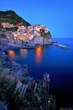 Manarola at Night, Cinque Terre, Liguria, Italy