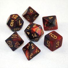 Set of 7 Chessex Gemini Purple-Red w/gold RPG Dice