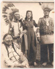L-R: Unknown, Nicholas Black Elk (Oglala), Jean Miller, Unknown - unknown photographer - no date - (Original).