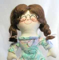 Handmade Rag Doll Brunette with Glasses