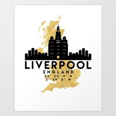 LIVERPOOL ENGLAND SILHOUETTE SKYLINE MAP ART - The beautiful silhouette skyline of Liverpool and the great map of England in gold, with the exact coordinates of Liverpool make up this amazing art piece. A great gift for anybody that has love for this city. graphic-design digital typography illustration vector liverpool england united-kingdom uk great-britain downtown silhouette skyline map coordinates