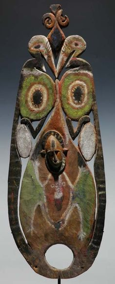 """This is a Southern Abelam lightwood """"notu"""" headdress worn by men during the public ceremony after male initiation."""