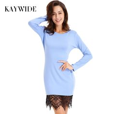 $19.90 KAYWIDE 2017 Lace Patchwork Autumn Women Dress Casual Bodycon Winter Dresses With Tassel Long Sleeve Ladis Dress Vestidos 15349    Go shopping now!     Visit us @ https://www.feseldo.com    FREE Shipping    #Feseldo #Fashion #OnlineShopping #Men #Women #Discount