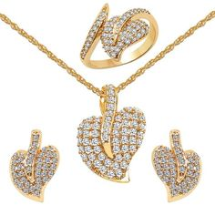 CZ Studded Brass Pendant, Earrings & Ring Set with Chain #trendingjewellery #indianjewellery #indianFashion