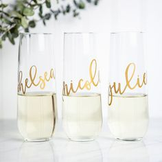 Our stemless wine glasses are perfect bridesmaid gifts! These are also lovely for bridal showers, bachelorette parties, or rehearsal dinners. Wonderful gifts for anyone! Printed in metallic gold, silv