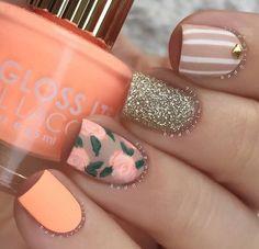 Flores * nails matte nail art, nails y matte nail polish Fancy Nails, Love Nails, Trendy Nails, My Nails, Spring Nails, Summer Nails, Matte Nail Polish, Nail Polishes, Acrylic Nails