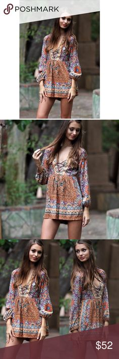 PreOrder Arrives 5/01  Boho Romper This gorgeous bohemian Romper is for sure to get many compliments.  Bohemian Romper with criss cross v-neck neckline and elastic sleeves.  Any questions please ask. Pants Jumpsuits & Rompers