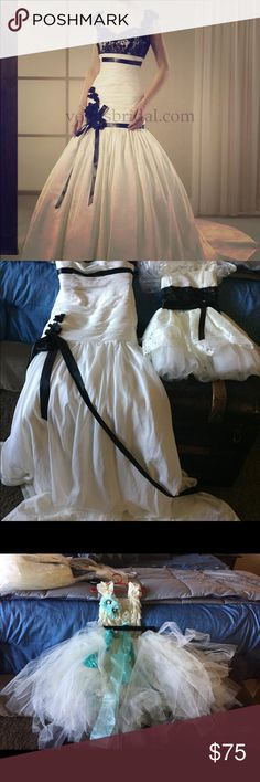 Wedding gown and matching flower girl dress. Ivory gown and flower girl dress with black lace, sequins and sash for an elegant black tie wedding. Button down back with train. Other