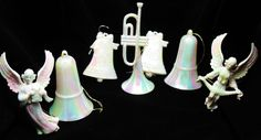 LOT 7 VTG Large Celluloid White Iridescent Opalescent Mixed Christmas Ornaments