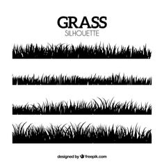 Decorative silhouettes of grass borders Free Vector Grass Silhouette, Silhouette Design, Green Grass Background, Textured Background, Grass Vector, Daisy Field, Summer Backgrounds, Beautiful Park, Business Flyer Templates