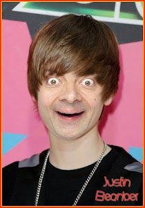 Justin Bieber with Mr. Bean's Face - hilarious!(: