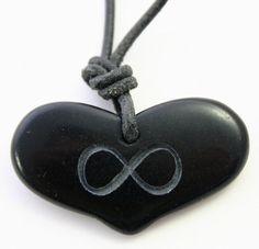 Infinity Symbol Engraved Black Stone Pendant Heart Necklace