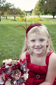 Bridal bouquet and coordinating headband for flower girl