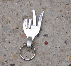 Fork Peace Sign Keychain