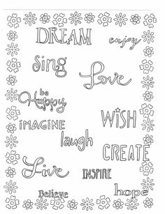 Color these words that help you believe and dream that all things are possible. Click here to download on ETSY: https://www.etsy.com/listing/288825331/dare-to-dream-coloring-page?ref=listings_manager_grid