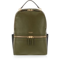 Henri Bendel Soho Backpack ($398) ❤ liked on Polyvore featuring bags, backpacks, bolsas, dk green, brown laptop backpack, brown laptop bag, henri bendel, laptop bags and day pack backpack