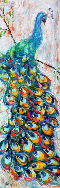 Original Peacock Oil Painting Textured Palette knife by Karensfineart