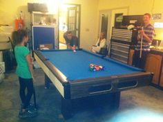 a game of pool in the garage. I mean man-cave. Man Cave, The Neighbourhood, Bridge, Beautiful Places, Garage, Home Decor, Drive Way, Homemade Home Decor, Garages