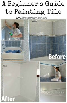 Painting Tile In Bathroom - How To Refinish Outdated Tile Yes I Painted My Shower Yes You Really Can Paint Tiles Rust Oleum Tile Transformations Painting Bathroom Tile 6 Things T. Painting Bathroom Tiles, Painting Shower, Shower Tile Paint, Painting Tile Countertops, Wall Tiles, Painting Over Tiles, Ceramic Tile Bathrooms, Painting Tile Floors, Shower Tiles
