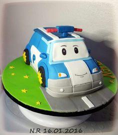 Robocar poli 3d cake fondant