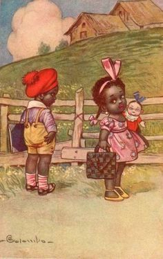 Antique Black Americana postcard. Illustration,signed Colombo....Adorable kids.with a doll