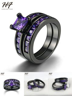 [Visit to Buy] New Vintage Two Band Black Rings Ring Sets Princess Cut Purple CZ Cubic Zirconia Engagement Jewelry for Women R687 #Advertisement
