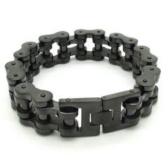 Supernova Sale 18mm Width Men's Cool Black Motorcycle Chain Bracelet Bike Jewelry 316L Stainless Steel Free Shipping www.bernysjewels.com #bernysjewels #jewels #jewelry #nice #bags