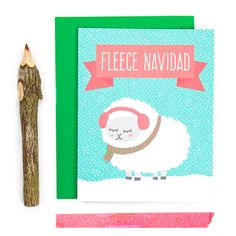 A hand drawn illustration of a sheep bundled up for the holiday with typography, Fleece Navidad  • Card size is 4.25 x 5.5 inches • Blank inside for your personal message (we print custom messages - leave a note to seller at checkout with your message.) • Printed on premium recycled card stock and includes an envelope color of your choice. • Each card is protected with a sleeve for safe keeping.  ☛ GET 15% OFF! Get a coupon code e-mailed to you instantly when you sign up for our e-mail list…
