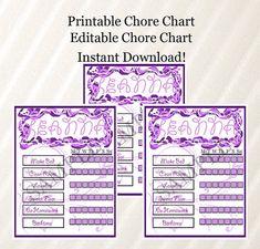 Chore Chart, Kids Chore Chart, Purple Chore Chart, Printable Chore Chart, Editable Chore Chart, Reward Chart, Behavior Chart, MS Word