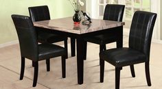 Xiomar Espresso Bycast Faux 5Pc Pack Dining Set (70128)