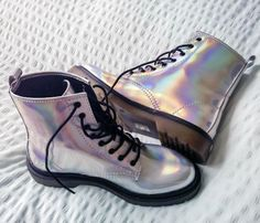 T.U.K. Iridescent 7 Eye Boot - $69.30 USD - http://ninjacosmico.com/12-holographic-fashion-items/2/
