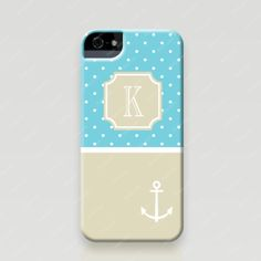 Personalized iPhone 5 and 5s Case - Polka Dots & Anchor - Froolu
