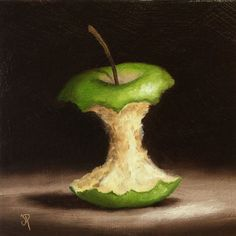 Green Apple Core, Original Oil Painting still life by Jane Palmer by JanePalmerArt on Etsy