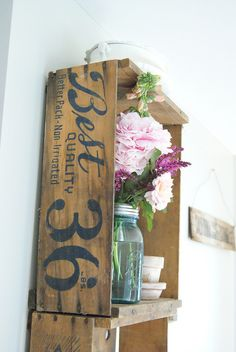 Wood Crate Shelves -- need to find some old wood crates so I can do this downstairs!