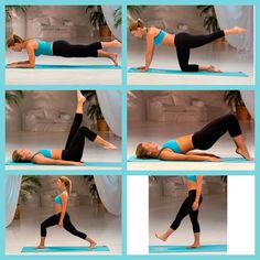 Six Easy Pilates workouts: 3 sets 8 reps each. modified plank with leg lifts | bridge with small leg circles | beach bicycle | pelvic bridge | lunge pulse | half moons flexed foot   http://www.southbeachdiet.com/diet/easy-pilates-inspired-exercises#slide=1