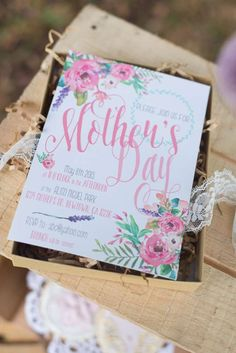 Beautiful invitation at a Mother's Day brunch party! See more party planning ideas at CatchMyParty.com!